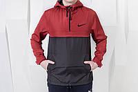 Анорак мужской Nike, ветровка, курточка (черно-красный)