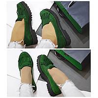 Стильные женские комфортные туфли- лоферы от TroisRois  из натурального турецкого замша 2.5, Без застежки, Натуральная кожа, Зеленый2