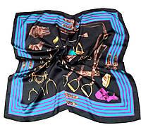 Шейный платок Камилла из вискозы и шелка, 70х70 см, графит/голубой, лошадь