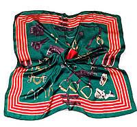 Шейный платок Камилла из вискозы и шелка, 70х70 см, изумруд/красный, лошадь