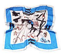 Шейный платок Камилла из вискозы и шелка, 70х70 см, молочный/голубой, лошадь