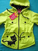 Модная детская ветровка Кошечка для девочек 3 -5 лет. Цвет лайм