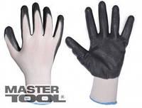 MasterTool Перчатки трикотажные бесшовные с нитриловым покрытием ладони(бело-серые) Перчатки ладони 83-0400