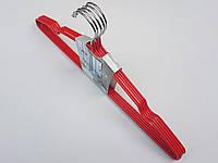 Плечики вешалки тремпеля металлический в силиконовом покрытии красного цвета длина 40,5 см, в упаковке 5 штук