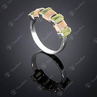 Серебряное кольцо с хризолитом. Артикул П-382