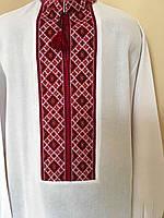 Біла вишита сорочка з червоним орнаментом 52 розмір