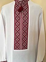 Біла вишита сорочка з червоним орнаментом