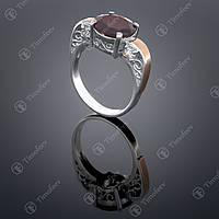 Серебряное кольцо с гранатом и цирконами. Артикул П-384