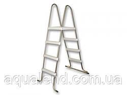 Лестница стремянка из нержавеющей стали для каркасного сборного бассейна 4 ступени высотой 1,2м Azuro De Luxe