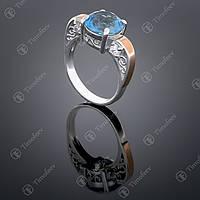Серебряное кольцо с топазом и цирконами. Артикул П-384