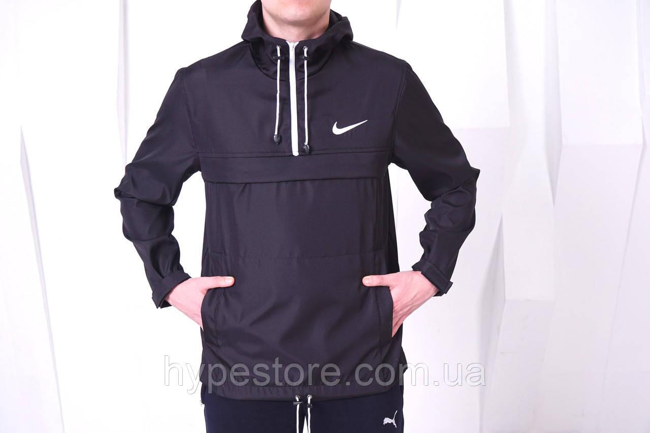 Анорак мужской Nike, ветровка, курточка (черный), Реплика
