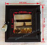 Дверка печная чугунная с огнеупорным стеклом 250х270мм.