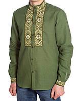 Стильная зеленая мужская вышиванка из натурального льна