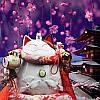 Манэки-нэко с журавлями и колокольчиком, белый из коллекции