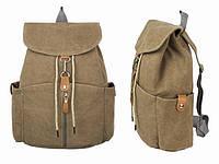Коричневый рюкзак из натуральной ткани для города