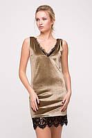 Бархатное платье с кружевом Blik бежевое