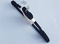 Плечики вешалки тремпеля флокированные (бархатные, велюровые) черного цвета, длина 42 см,в упаковке 3 штуки