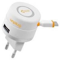 Сетевое зарядное устройство Unplug рулетка + USB с micro USB кабелем(TCU1000MIC)