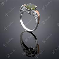 Серебряное кольцо с хризолитом и цирконами. Артикул П-384