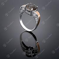 Серебряное кольцо с раухтопазом и цирконами. Артикул П-384