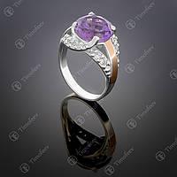 Серебряное кольцо с аметистом и фианитами. Артикул П-385