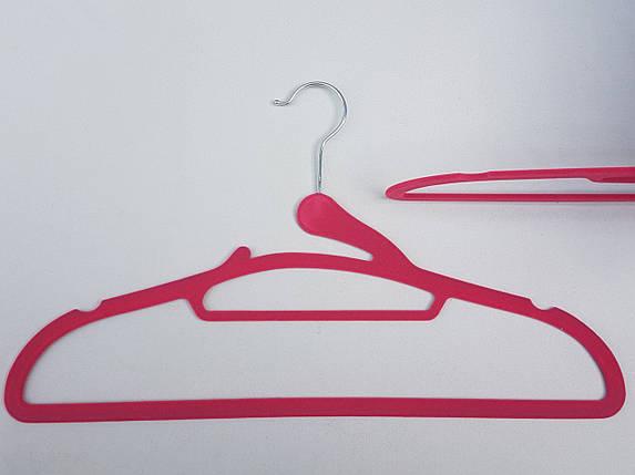Плечики вешалки тремпеля флокированные (бархатные, велюровые) розового цвета, длина 41,5 см,в упаковке 3 штуки, фото 2