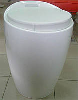Пуф пластиковый Мари белый с мягкой подушкой из кожзама