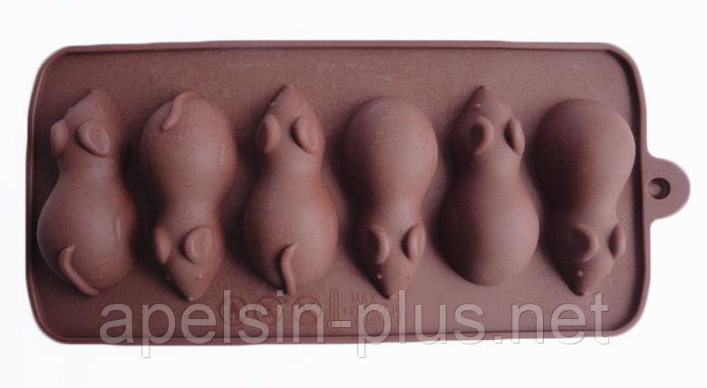 """Силиконовая форма для шоколада """"Мышки из 6"""""""