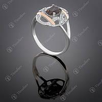 Серебряное кольцо с раухтопазом и фианитами. Артикул П-388