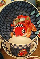 Детский набор посуды из стеклокерамики с машинками