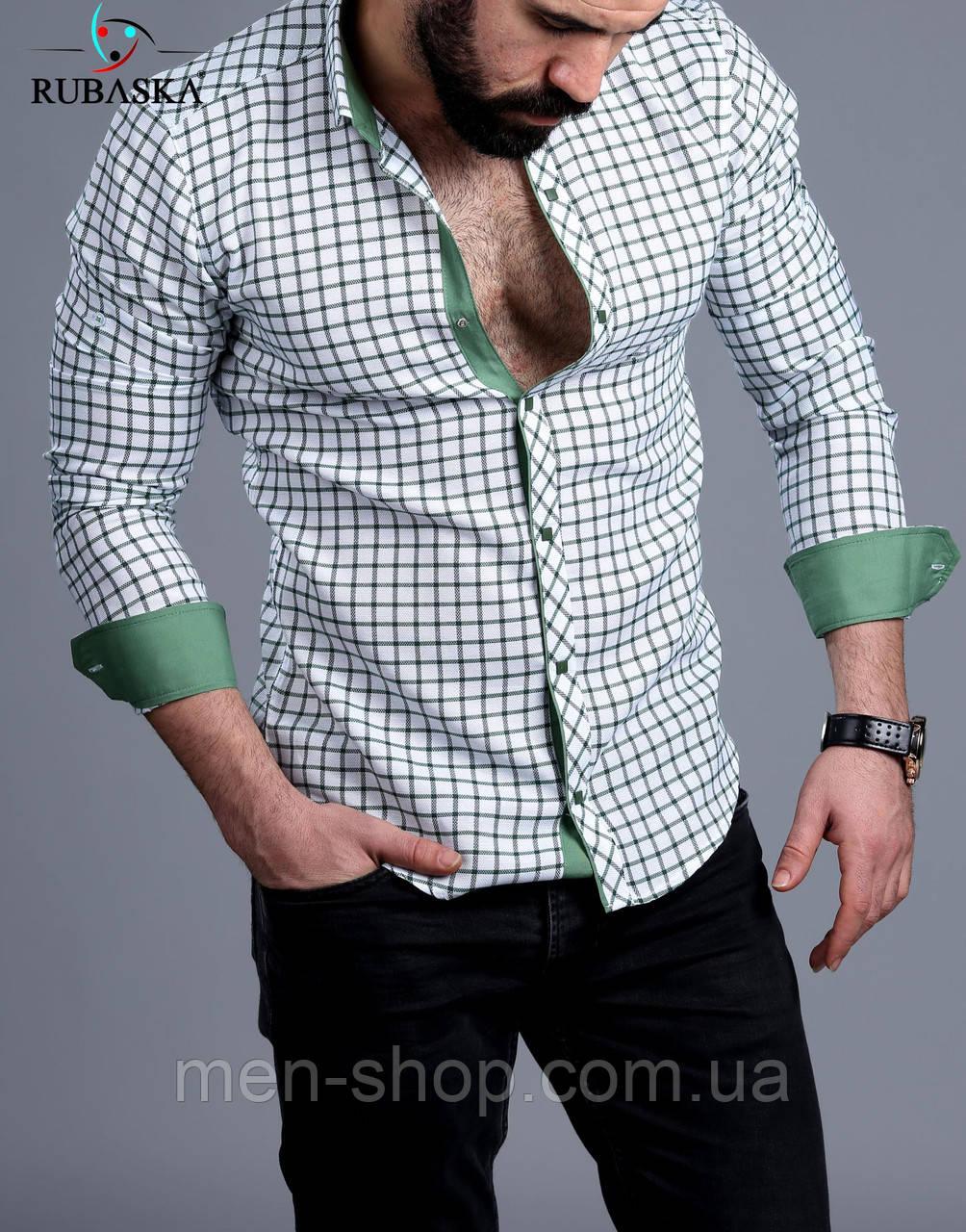 Молодежная мужская рубашка в клетку