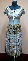 Платье летнее женское бежевое с резинкой под грудью, 46, 48, 50  размеры