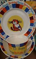 Детский набор посуды из стеклокерамики с котиком