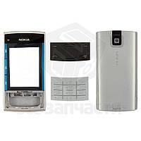 Корпус для мобильного телефона Nokia X3-00, серебристый, high-copy, с клавиатурой