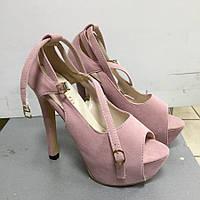 Туфли открытые на высоком каблуке замшевые розовые и платформе Stella