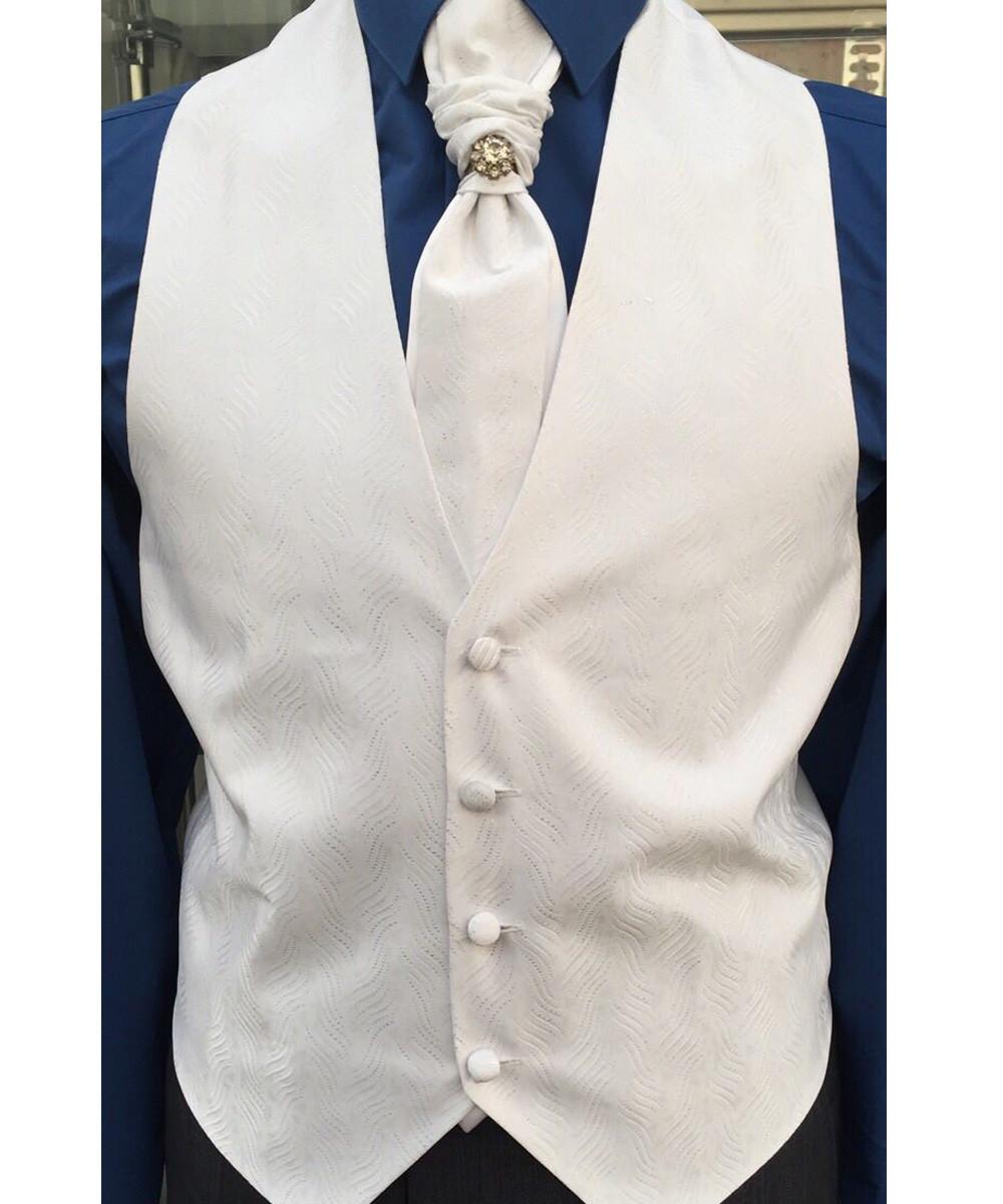 Жилет для жениха мужской +пластрон с платочком белый с люрексом