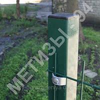 Столб для забора из профильной оцинкованной трубы с полимерным покрытием 50х50х2,0 мм высотой 2,0 м.