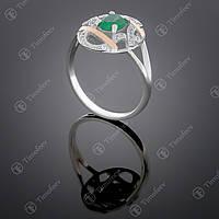 Серебряное кольцо с агатом и фианитами. Артикул П-388