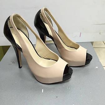 Жіночі літні шкіряні туфлі відкритий носок кремового кольору Aldo, фото 2