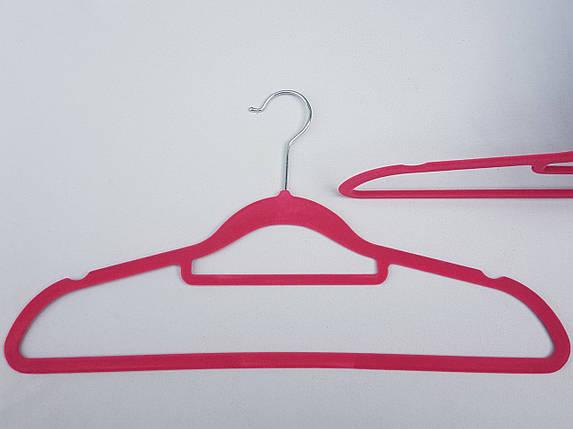 Плечики вешалки тремпеля флокированные (бархатные, велюровые) розового цвета, длина 42 см,в упаковке 3 штуки, фото 2