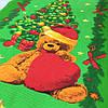 Вафельная ткань с рождественским мишкой с сердечком, ширина 50 см