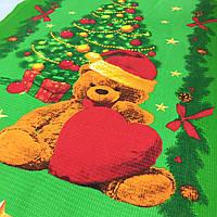 Вафельная ткань с рождественским мишкой с сердечком, ширина 50 см, фото 1