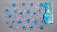 Коврик силиконовый антискользящий для ванной с голубыми ромашками