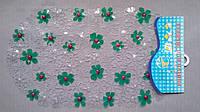 Купить коврик антискользящий для ванной в зеленые ромашки