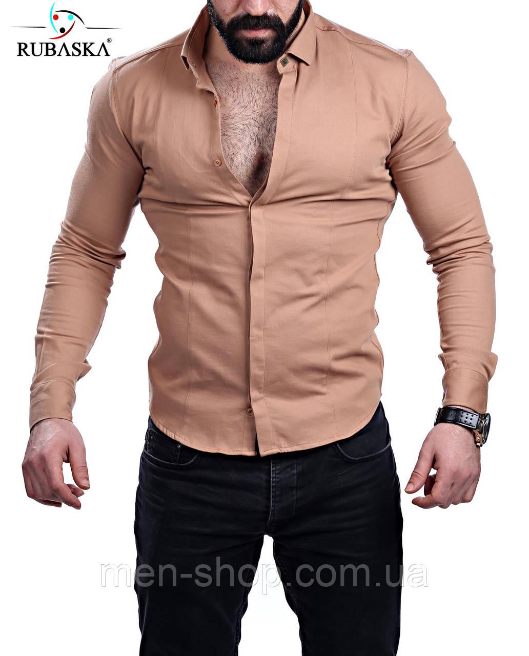 Однотонная мужская рубашка