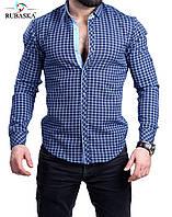 Синяя мужская рубашка в клетку, фото 1