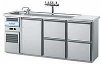 Барный холодильный стол с мойкой (одна чаша),  краном,  1 дверкой и 4 ящика
