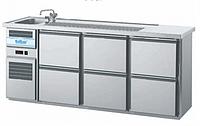 Барный холодильный стол с мойкой (одна чаша),  краном,  выдвижных 6 ящиков