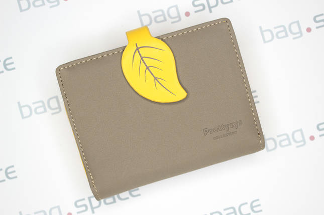 Кошелёк женский PrettyZys Leaf, серый+желтый, фото 2