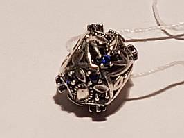 Серебряная подвеска-шарм Королевская лилия с фианитами. Артикул П5ФС/755